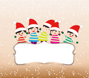 Happy christmas banner with kids Royalty Free Stock Photos