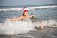Happy christmas on the beach Stock Photos