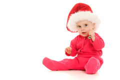 Happy Christmas bell ringing baby Royalty Free Stock Photos