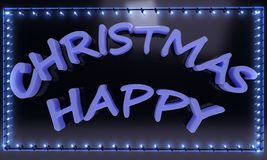 Happy Christmas blue text light frame, 3d render. Ing Stock Photo