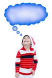 Happy christmas boy and speech bubble,on white background Royalty Free Stock Image