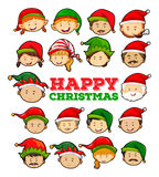 Happy Christmas card with elf and santa Royalty Free Stock Images