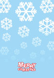 Happy Christmas card. Falling snowflakes on blue background. Fes. Tive congratulations card with new year Royalty Free Stock Photo