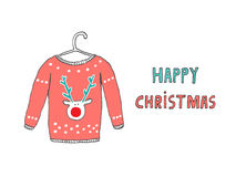 Happy Christmas Caribou jersey card. Hand drawn vector illustration Royalty Free Stock Images