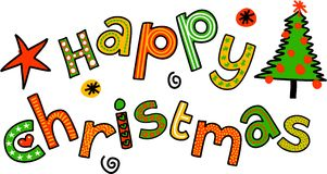 Happy Christmas Cartoon Doodle Text Royalty Free Stock Photography