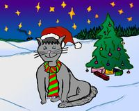 Happy Christmas Cat with Christmas Tree stock images