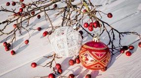 Happy Christmas celebration. Christmas decorations on white background Royalty Free Stock Photo
