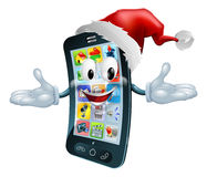 Happy Christmas cell phone. Illustration of a happy Christmas cell phone wearing a Santa Claus hat Royalty Free Stock Images