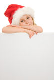 Happy Christmas child with the board Stock Images
