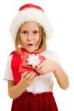 Happy Christmas child with a box Royalty Free Stock Photos