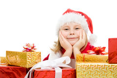 Happy Christmas child with gifts in the boxes Stock Photo
