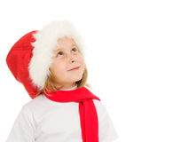 Happy Christmas child looking up Royalty Free Stock Photos