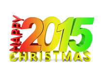 Happy Christmas. Colored volumetric inscription: Happy Christmas 2015 on a white background stock illustration
