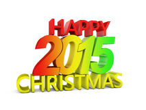 Happy Christmas. Colored volumetric inscription: Happy Christmas 2015 on a white background Stock Images