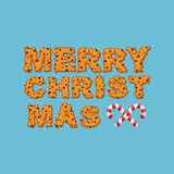 Happy Christmas cookies typography. Letters of cookie. Peppermin Stock Photography