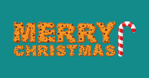 Happy Christmas cookies typography. Letters of cookie. Peppermin Royalty Free Stock Photography