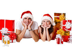 Happy Christmas  couple. Stock Photo