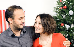 Happy Christmas couple Stock Photography