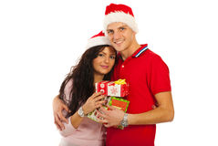 Happy Christmas couple Royalty Free Stock Images