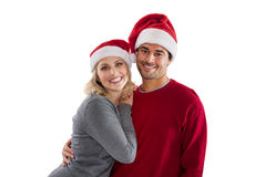 Happy Christmas couple cheering Stock Photos