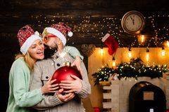 Happy Christmas couple. Happy family new year. Party Christmas. Hipster Santa claus. Funny Santa Claus. Bomb text copy stock photo