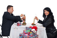 Happy Christmas couple ready for toast Stock Images