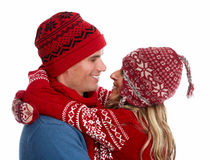 Happy christmas couple in winter clothing. Stock Photography