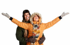 Happy christmas couple in winter clothing. Stock Images