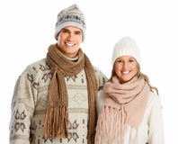 Happy christmas couple in winter clothing. Royalty Free Stock Photography
