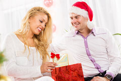 Happy Christmas couple Stock Images