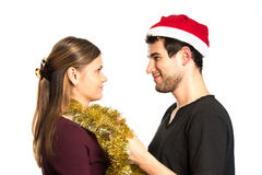 Happy Christmas couple Stock Photography