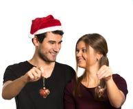 Happy Christmas couple Royalty Free Stock Photography