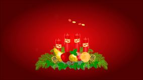 Happy Christmas decoration Advent wreath with fruit video. Animation of illustration Happy Christmas decoration Advent wreath with fruit video vector illustration