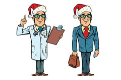 Happy Christmas doctor and businessman Stock Photo