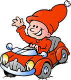 Happy Christmas Elf driving in a red Sports Car Stock Photography