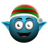 Happy christmas elf emoji. On a white background, Vector illustration Stock Images