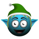 Happy christmas elf emoji. On a white background, Vector illustration Royalty Free Stock Photography