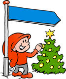 Happy Christmas Elf looking at a Christmas Tree. Hand-drawn Vector illustration of an Happy Christmas Elf looking at a Christmas Tree Stock Photo