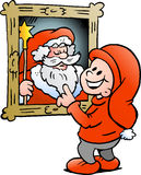 Happy Christmas Elf looking at a picture of Father Santa Claus Stock Photo