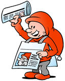 Happy Christmas Elf  with News Paper Stock Image