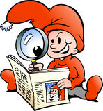 Happy Christmas Elf reading News Paper Stock Images