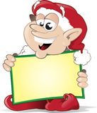 Happy christmas elf with sign. This happy little elf has plenty of space to write a christmas message Royalty Free Stock Photos