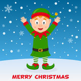 Happy Christmas Elf on the Snow Stock Image