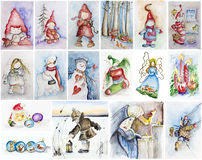 Happy Christmas Fairy tale story. Happy Christmas Child Fairy tale story concept. Watercolor handmade painted illustrations collages set Royalty Free Stock Photography