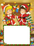 Happy christmas frame - border - illustration for the children Stock Photography