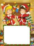 Happy christmas frame - border - illustration for the children Stock Photography