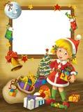 Happy christmas frame - border - illustration for the children Royalty Free Stock Photo
