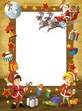 Happy christmas frame - border - illustration for the children Stock Photo
