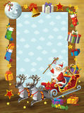 The happy christmas frame - illustration for the children Stock Photos
