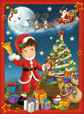 The happy christmas frame - illustration for the children Stock Photography